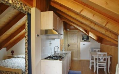 Cucina e camera di un appartamento agriturismo Naunal di Sutrio